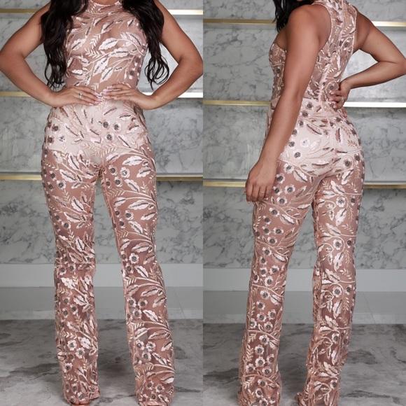 half price find workmanship recognized brands ♡ Boutique Sequin Rose Gold Jumpsuit/Jumper